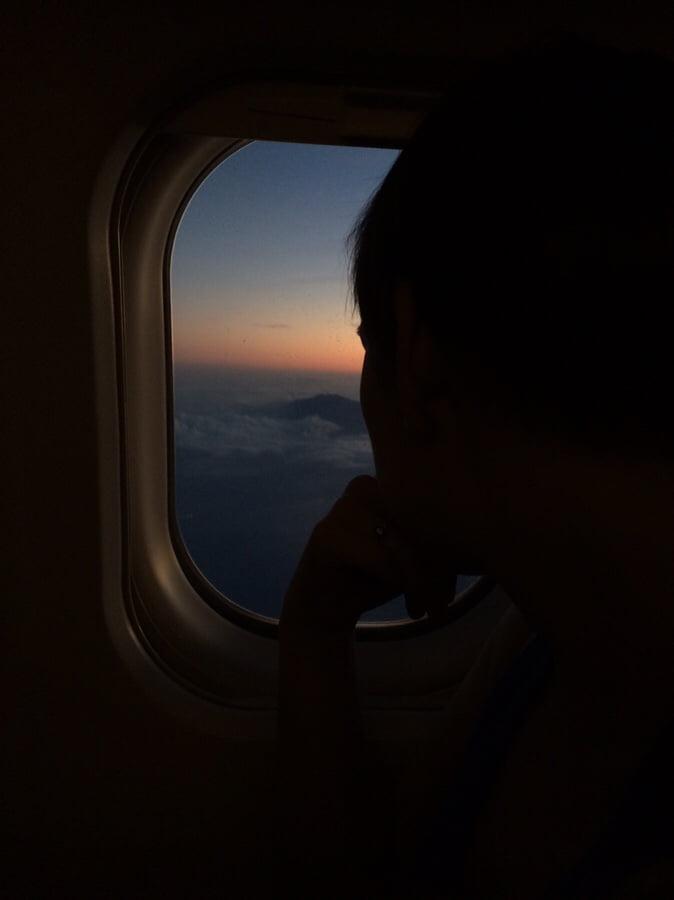 photo numérique vue du hublot dans l'avion